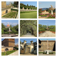 Boboli Garden collage,Unesco World Heritage site, Florence