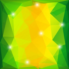 Green and yellow triangles background with sparkle