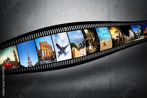 Film strip with vibrant photographs. Travel theme - 65371764