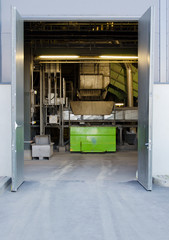 Open gates of waste sorting plant.
