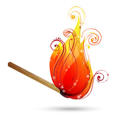 Burning match vector.