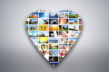 Heart design element made of pictures of people, animals, places