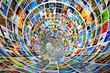 Leinwandbild Motiv Tunnel of media, images, photographs. Tv, multimedia broadcast.