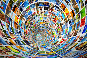 Tunnel of media, images, photographs. Tv, multimedia broadcast.