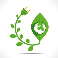 earth on green leaf or green energy concept  vector