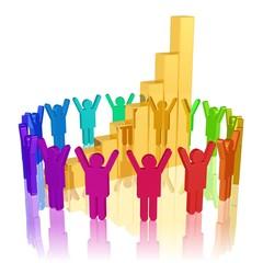 Begeisterung wegen steigender Kurse - Teamwork