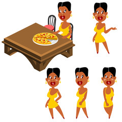 character woman at the table with the pizza, set