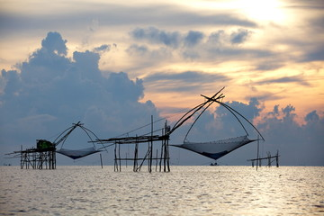 square dip net at sunrise time from phattalung  , thailand