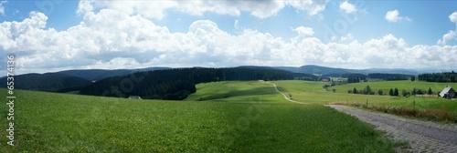 canvas print picture Panoramablick über Wiesen, Wälder und Berge