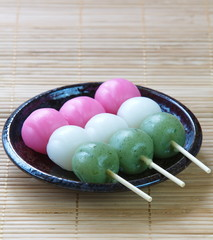 Dango japanese dumpling and sweet made from rice flour
