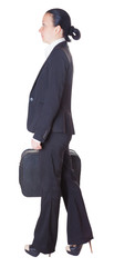 business woman with a suitcase, isolated white background