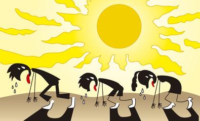 猛暑に苦しむ人々