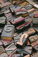 Old wood letterpress letters background