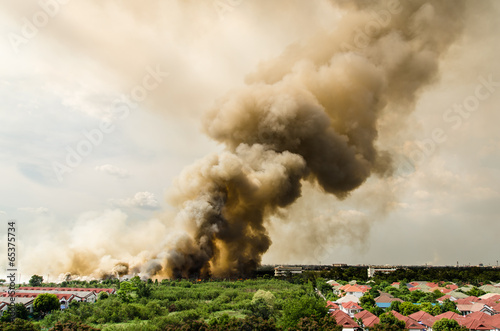 Foto op Canvas Vuur / Vlam Fire in the city overview.