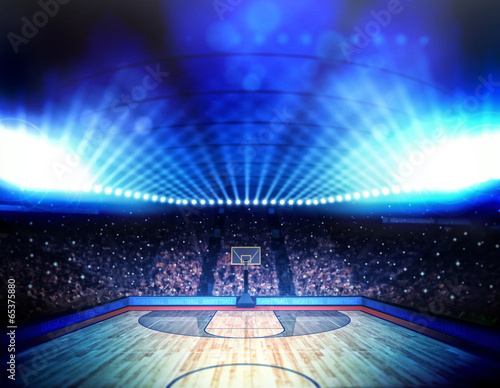 Wall mural basketball arena photo wallpaper for Basketball court mural