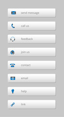 simple gray internet buttons with blue-gray icons