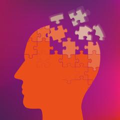 Kopf zerfliegt in Puzzleteile Illustration für Demenz
