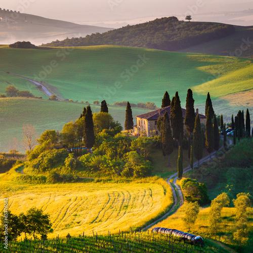 obraz PCV Toscana, mattino w Val d'Orcia