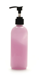 Pink pump bottle on White background