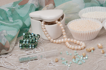 Beads Jewelry On Natural Linen Background. Hand Made