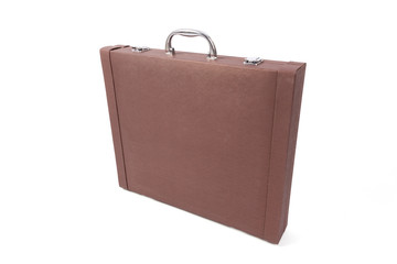 brown suitcase on white background