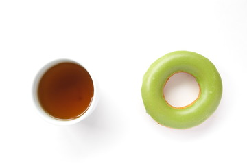 macha green tea sweet donut on white background