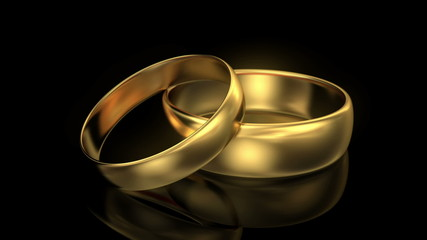 Zoom in wedding rings on black background. 3d animation