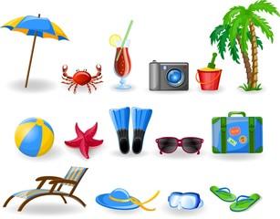 Путешествие иконы, пальмы, мяч, гостиная, зонтик, шлепанцы