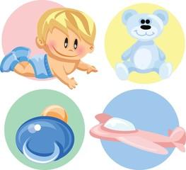 Векторная иллюстрация мальчиков и детских аксессуаров