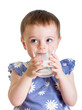 Kid drinking milk from glass isolated on white background