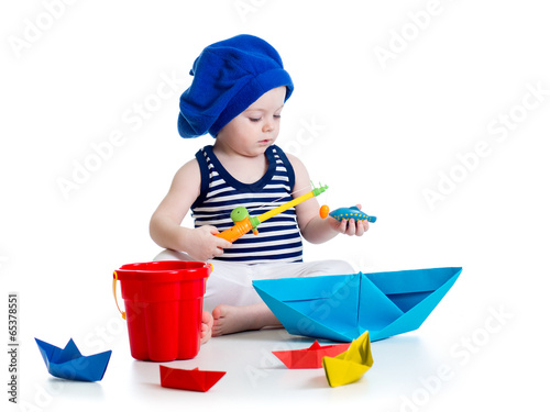 Cute kid playing fishing