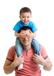kid sitting on dad shoulders isolated on white