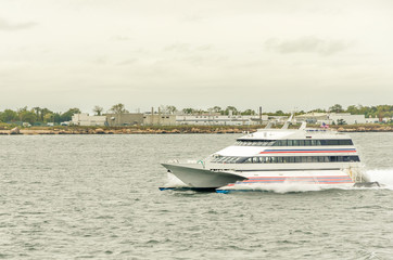 High-Speed Passenger-only Ferry on a Cloudy Day