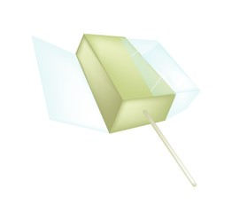 A Flavored Popsicle Ice Cream on White Background
