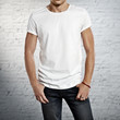 young man wearing blank t-shirt - 65379726