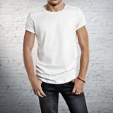 young man wearing blank t-shirt