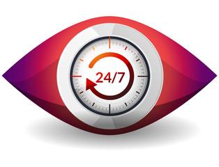 Watch 24 X 7 - Illustration