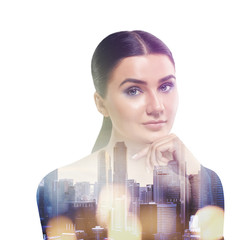 double exposure of woman and city with bokeh