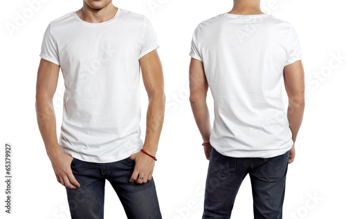 White t-shirt on a young man isolated, front and back - 65379927