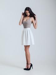Girl in beautiful skirt. vogue