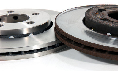 New and Old Disk Brake Rotors