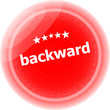 backward word on red stickers button, label
