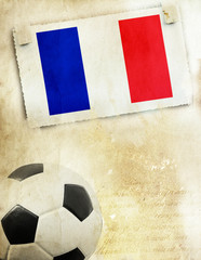 Photo of France flag and soccer ball