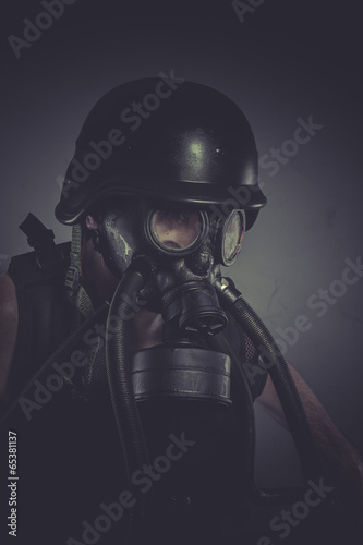 poster of Toxins nuclear and toxicological disaster ,man with gas mask