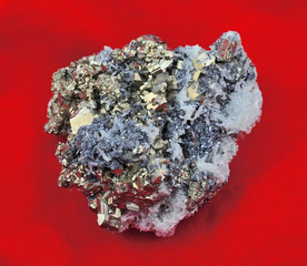 Large pyrite with Galena, calcite, red cloth