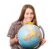 girl with globe. Isolated on white background