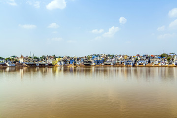 View of the holy sacred place for Hindus town Pushkar, India.