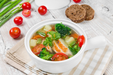 Vegetable soup with chicken