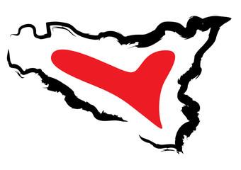 Sicilia sagoma con cuore