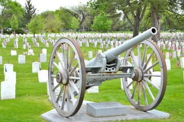 Memorial Day Cemetary with Cannon